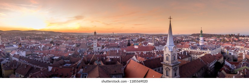 Aerial panorama of medieval Sopron in Hungary during sunset