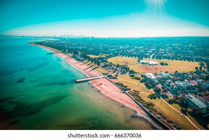 Aerial panorama of Melbourne coastline on bright sunny day