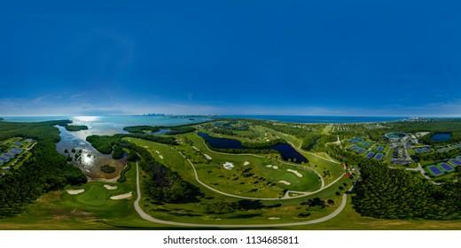 Aerial panorama Miami Crandon Park and tennis center Key Biscayne Florida