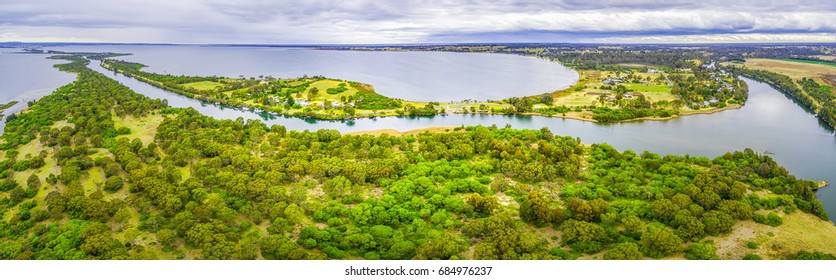 Aerial panorama of Mitchell River Silt Jetties Gippsland Lakes Reserve, Victoria, Australia