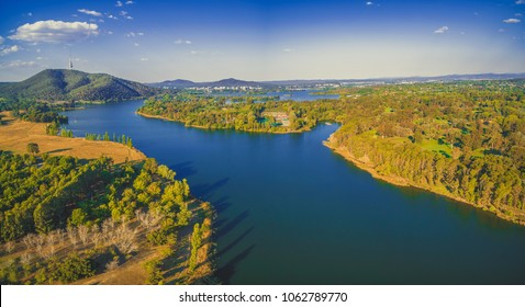Aerial panorama of Molonglo river and countryside in Canberra, Australia