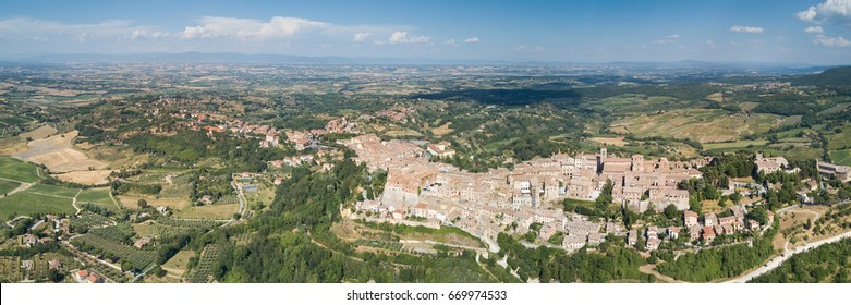 Aerial panorama of Montepulciano in Tuscany