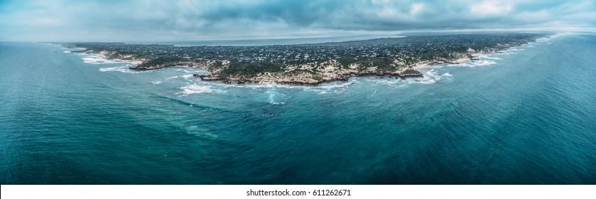 Aerial panorama of Mornington Peninsula coastline in stormy weather. Melbourne, Victoria, Australia