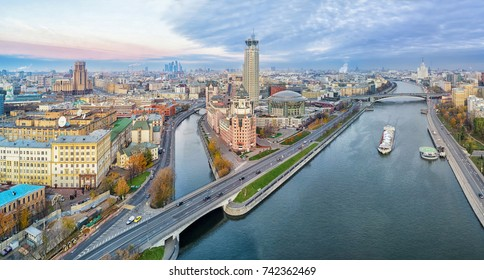 Aerial panorama of Moscow nearby the confluence of Vodootvodny Canal and Moskva river