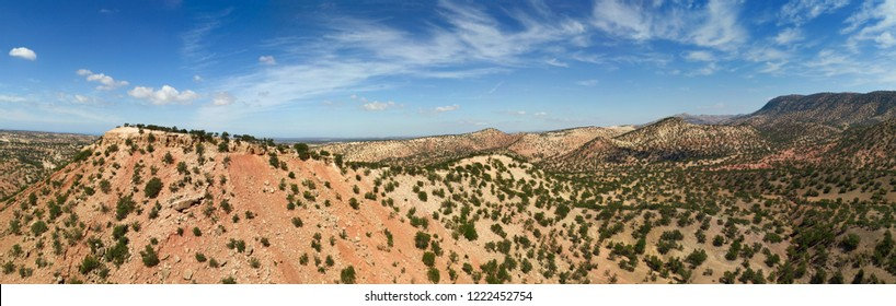 Aerial panorama of mountains with argan trees in their natural habitat - in Morocco
