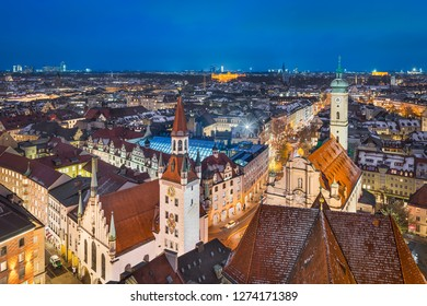 Aerial panorama of Munich city center, Germany