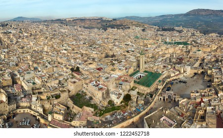 Aerial panorama of old Medina in Fes and the Medersa, Morocco (Fes El Bali Medina)