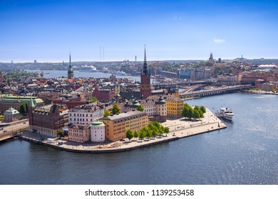 Aerial panorama of the Old Town (Gamla Stan), taken from the top of the City Hall in beautiful summer day in Stockholm, Sweden