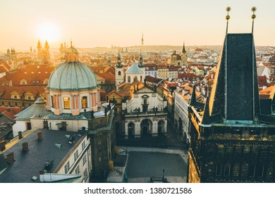 Aerial panorama of the Old Town, Prague, Czech Republic.