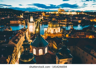 Aerial panorama of the Old Town, Prague, Czech Republic. Charles bridge, klementinum, old town tower.