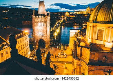 Aerial panorama of the Old Town, Prague, Czech Republic. Charles bridge, klementinum, old town tower. Night city centre.