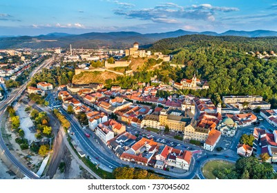 Aerial panorama of the old town of Trencin in Slovakia