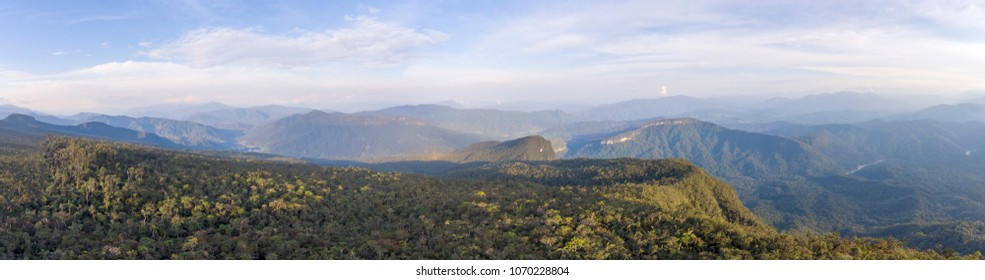 Aerial panorama over a Tepuy, 1800m elevation, above the Nangartiza Valley, Cordillera del Condor, Ecuador. Fllat topped sandstone mountains with a unique montane rainforest ecosystem.