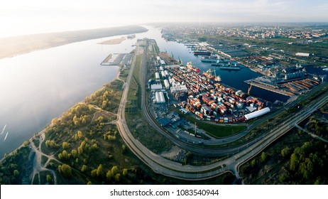 Aerial Panorama of Port of Klaipeda, Lithuania. It is one of the few ice-free ports in northernmost Europe, and the largest in Lithuania.
