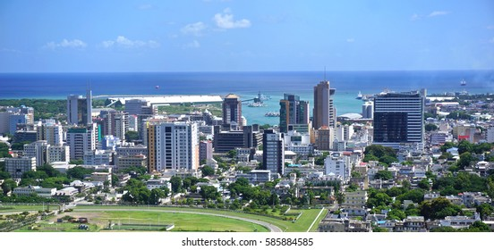 Aerial  panorama of Port Louis Mauritius skyline