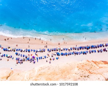 Aerial panorama of Porto Katsiki Beach one of the main tourist attraction in Lefkada Island Greece