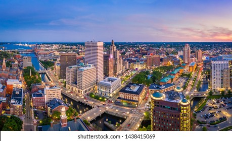 Aerial panorama of Providence skyline at dusk. Providence is the capital city of the U.S. state of Rhode Island. Founded in 1636 is one of the oldest cities in USA.