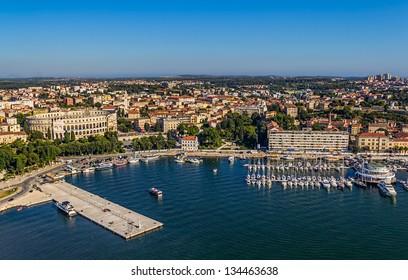 Aerial panorama of Pula harbor, Istria, Croatia.