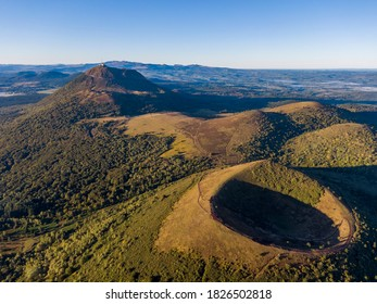 Aerial panorama of Puy Pariou and Puy de Dome volcanoes, Auvergne-Rhone-Alpes, France - Shutterstock ID 1826502818