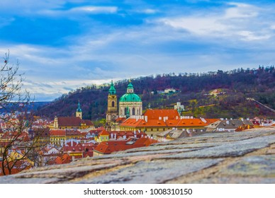 The aerial panorama of roofs at old town Prague, Czech republic