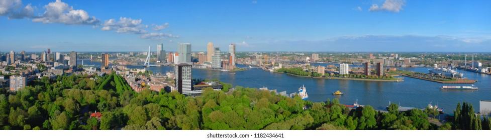 Aerial panorama of Rotterdam city and the Erasmus bridge Erasmusbrug over Nieuwe Maas river  from Euromast
