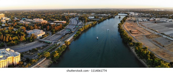 Aerial panorama is Sacramento and river