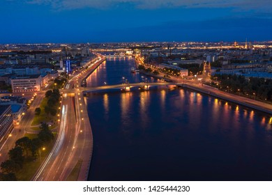 Aerial Panorama of Saint Petersburg. View of St. Petersburg from the heights-Great Nevka river, Grenadier bridge, Sampsonievsky Bridge,Petrogradskaya Embankment, Vyborg Embankment. Russia
