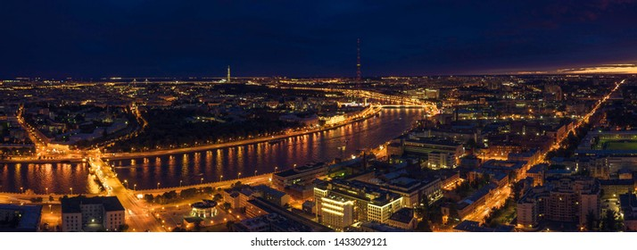 Aerial Panorama of Saint Petersburg. View of St. Petersburg from the heights-Great Nevka river, Grenadier bridge, Kantemirovskiy Bridge,Petrogradskaya Embankment, Vyborg Embankment. Russia