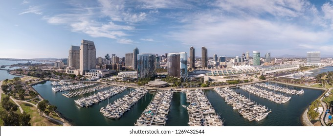 Aerial Panorama of San Diego marina with parked yachts