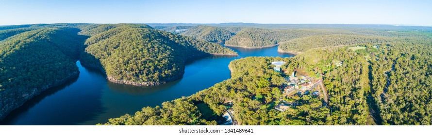 Aerial panorama of scenic Lake Nepean and forested hills. Bargo, New South Wales, Australia