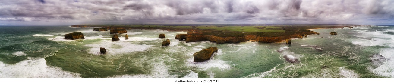 Aerial panorama of Shipwreck coast from Sailors bay to Peterborough and twelve apostles on Great Ocean road in Australia.