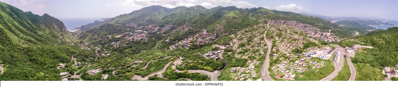 Aerial panorama shot of Jiufen in New Taipei, Taiwan