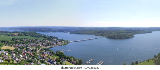 Aerial panorama shot of the Mohne reservoir in Germany. The dam was under attack in 1943 during Operation Chastise. Later calles Dam Busters