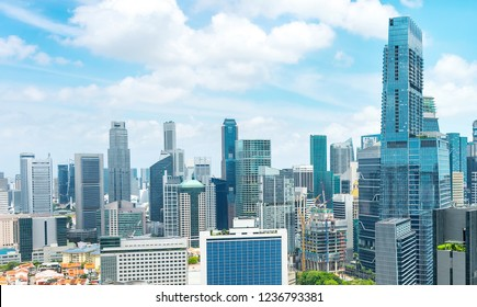 Aerial panorama of Singapore metropolis, business district with modern architecture, skyscraper building with gardens