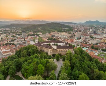 Aerial panorama of the Slovenian capital Ljubljana at sunset.