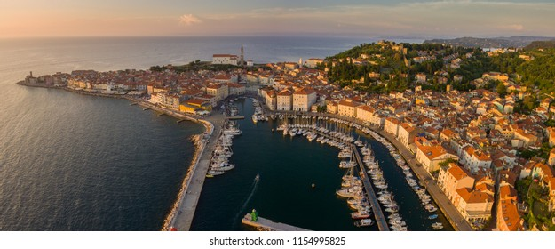 Aerial panorama of Slovenian city Piran