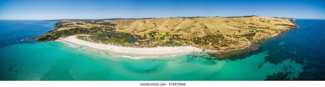 Aerial panorama of Snelling Beach. Kangaroo Island, South Australia