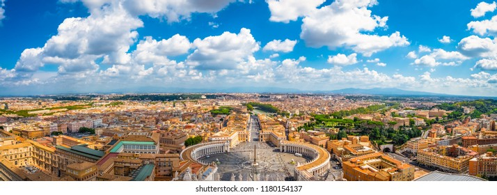 Aerial panorama of St. Peter's Square in Vatican with Rome in the background. Italy