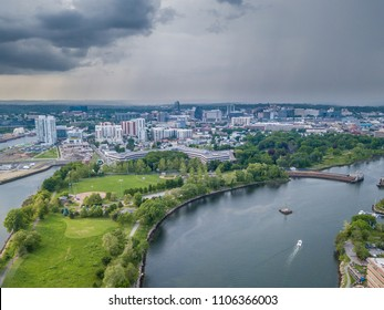 Aerial panorama of Stamford, Connecticut