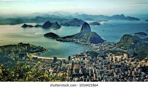 Aerial panorama and Sugar Loaf Mountain, Rio De Janeiro, Brazil. Vintage colors