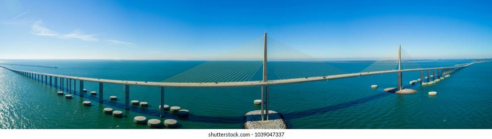 Aerial panorama of the Sunshine Skyway Bridge Tampa Florida Bay