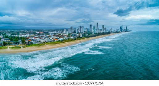 Aerial Panorama of Surfers Paradise high-rise buildings skyline and coastline. Queensland, Australia