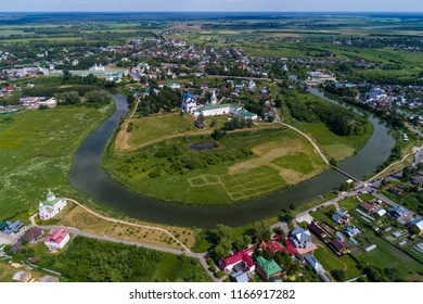 Aerial panorama of Suzdal from drone