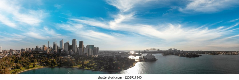 Aerial panorama of Sydney Harbour with bridge and bay, Australia.
