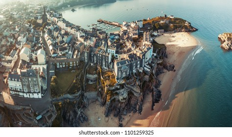 Aerial panorama of Tenby is probably the most iconic seaside town in Wales, Uk.