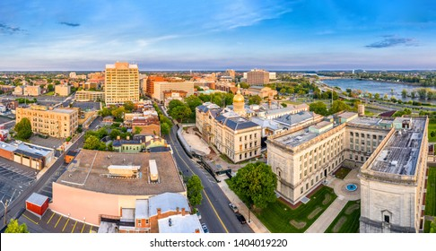 Aerial panorama of Trenton New Jersey skyline on late sunny afternoon