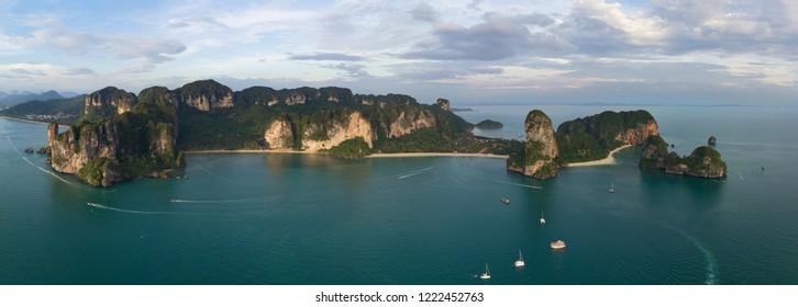 Aerial panorama of tropical turquoise lagoon, beach between rocks and islands, Krabi, Railay and Pranang beach, Thailand