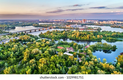 Aerial panorama of Trukhaniv Island on the Dnieper river in Kiev, Ukraine