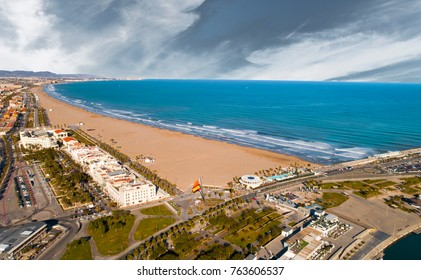 Aerial panorama Valencia with the beautiful beach in Malvarrosa