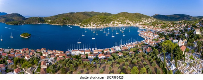 Aerial panorama of Vathy Ithaca Island in Greece